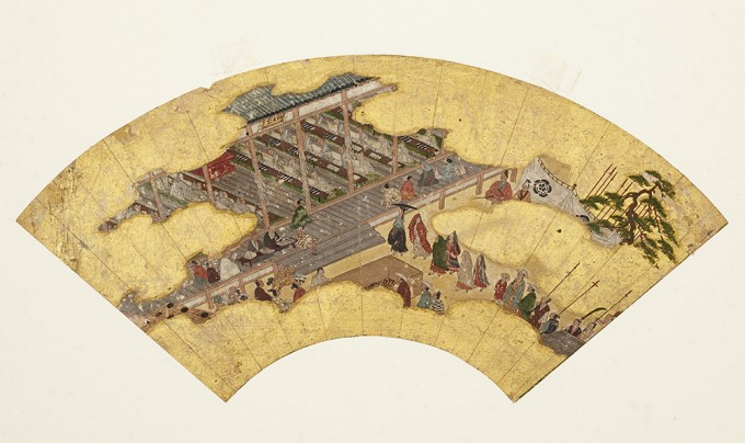Kitano Kyodo Hall on fan paper, Early Muromachi Period (16th century)